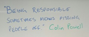"""Being responsible sometimes means pissing people off."" Colin Powell"