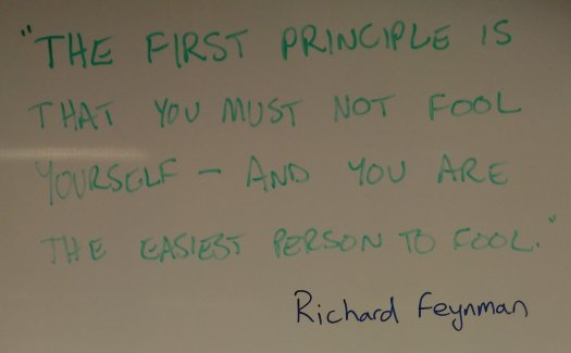 """The first principle is that you must not fool yourself – and you are the easiest person to fool."" Richard Feynman"