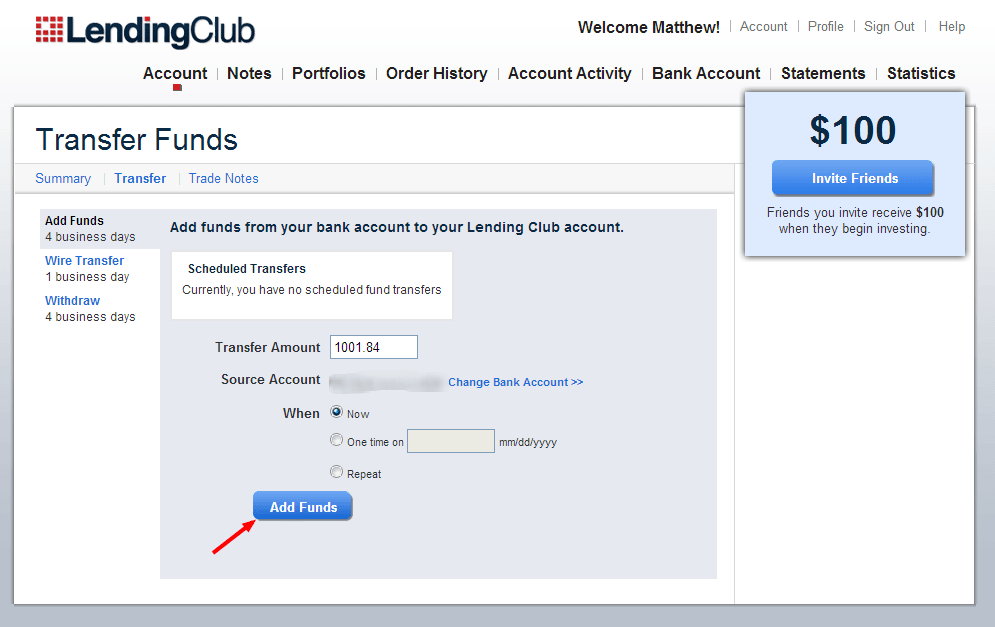 Lending Club - Transfer Funds - Dumb Passive Income