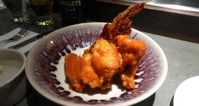 Wings, kimchi, blue cheese