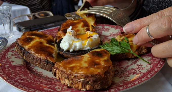 Welsh rarebit and poached egg at Blackbird Tea Rooms