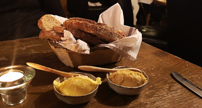 Locally-baked bread with Coppid Hall Farm butter