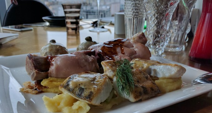 Pork knuckle, boiled veal and perch at Sky Kitchen
