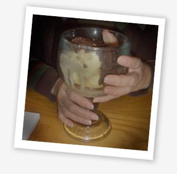 Ice cream with chocolate brownie