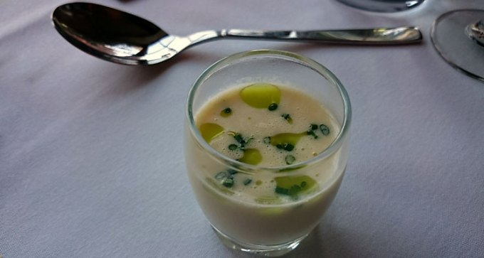 Parsnip veloute with tarragon oil