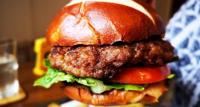 Briddlesford burger in a bun