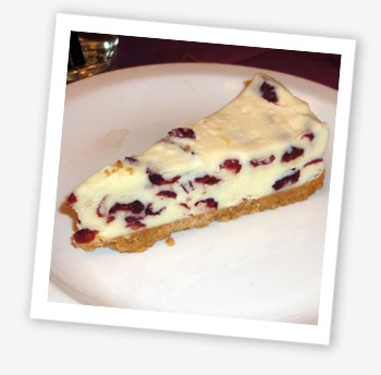 Cranberry and white chocolate cheesecake