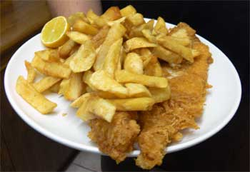 Corrie's Cabin cod and chips