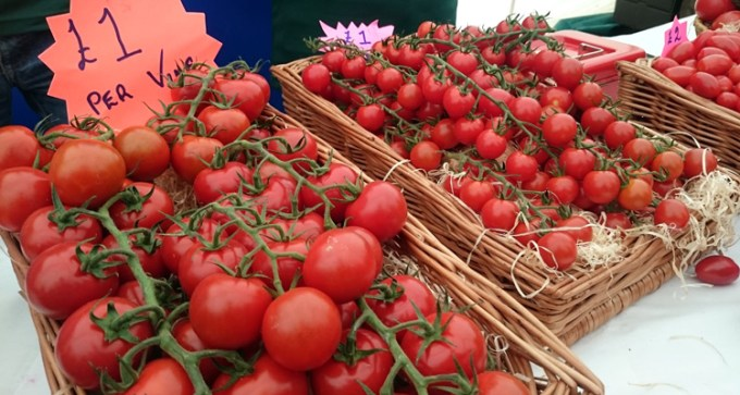 Vine tomatoes by the Tomato Stall