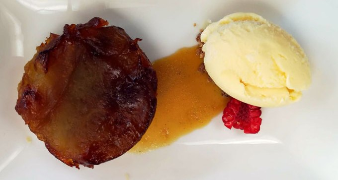 Apple tart tatin, caramel sauce, vanilla ice cream