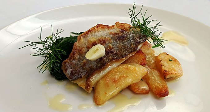 Bream fillet, confit new potatoes, seasonal greens, Gloucester sauce