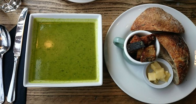 Pea, mint and wild garlic soup