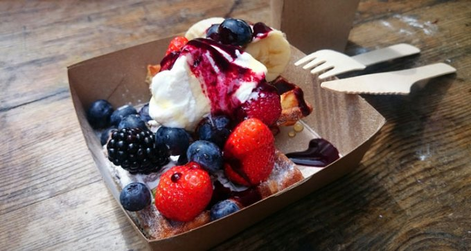 Fruit and Greek yoghurt waffle at Maltby Street market