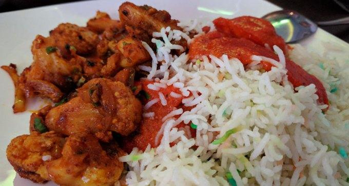 Chicken tikka masala, cauliflower bhagi and pilau rice