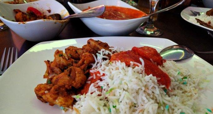 Chicken tikka masala and cauliflower bhagi