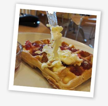 Cream tea waffle - yum!
