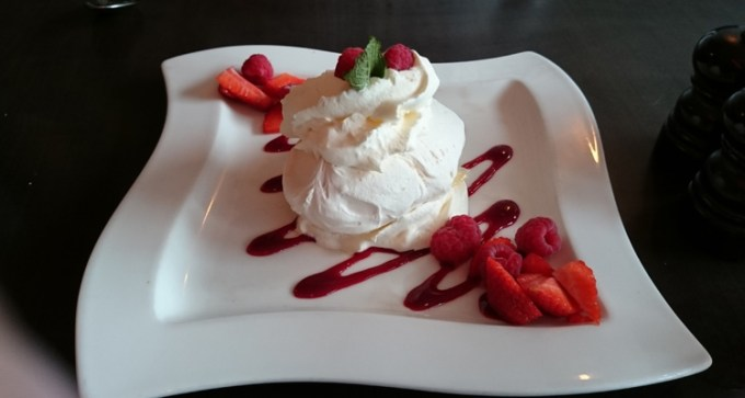 Raspberry and strawberry Pavlova
