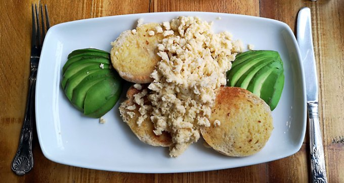 Scrambled egg and avocado