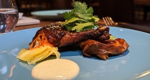 Barbeque jerk chicken leg with baked yam