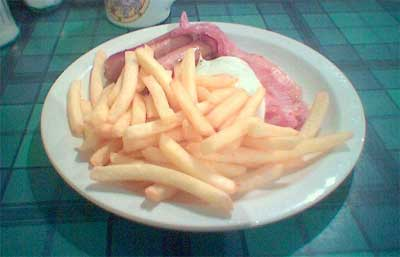 Bacon, egg, sausage and chips
