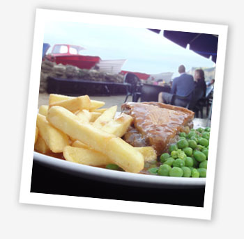 Pie and chips; The Fisherman's Cottage, Shanklin Chine