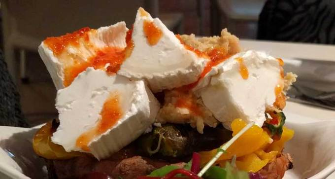 Sweet potato with beetroot and goats cheese