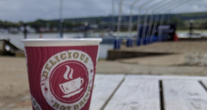 Island Roasted coffee with a view towards Culver Down