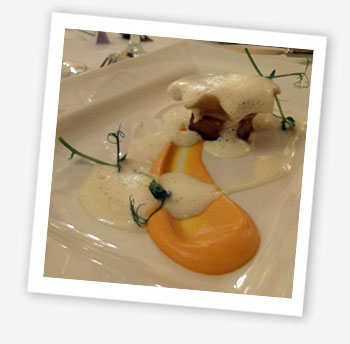Sweet potato ravioli, celeriac fondant, lettuce foam