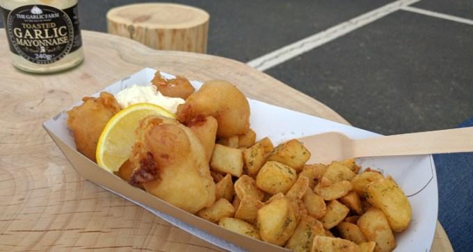 Fish goujons, seasoned potato bites