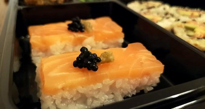 Salmon oshizushi and yuzu kosho