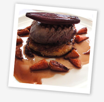 St Helens Restaurant oven-roasted fillet of beef with rosti potato, roasted shallots, carrots, and jus