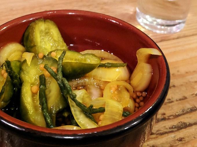 Pickles, including samphire and leek