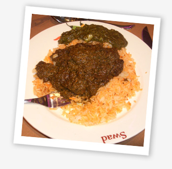 Swad saag meat and spinach bhajee