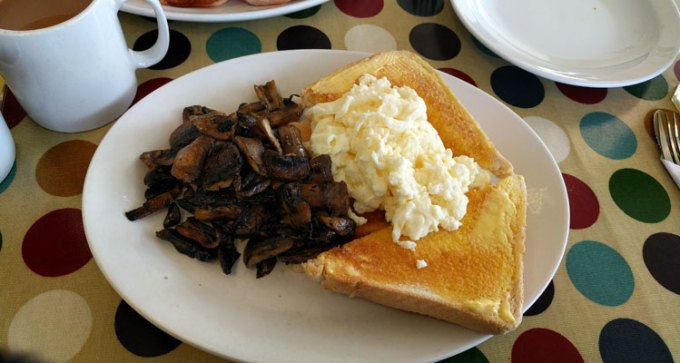 Scrambled eggs and mushrooms