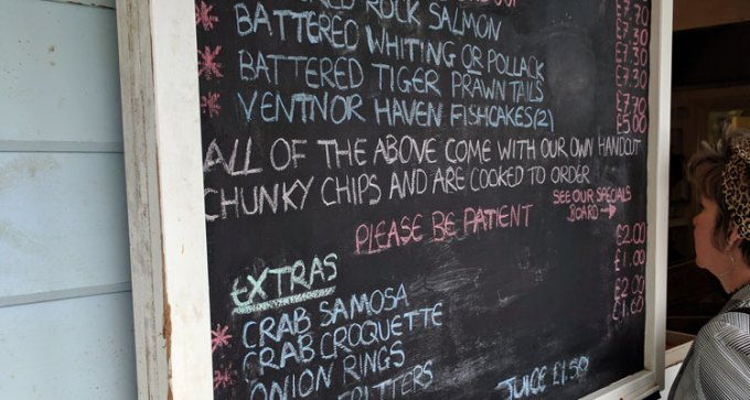 Ventnor Haven Fishery menu