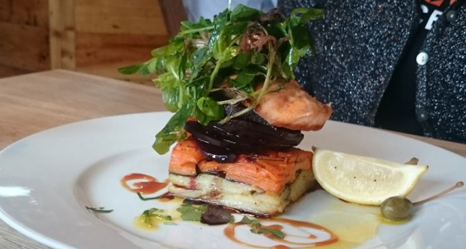 Salmon fillet, dauphinoise, beetroot