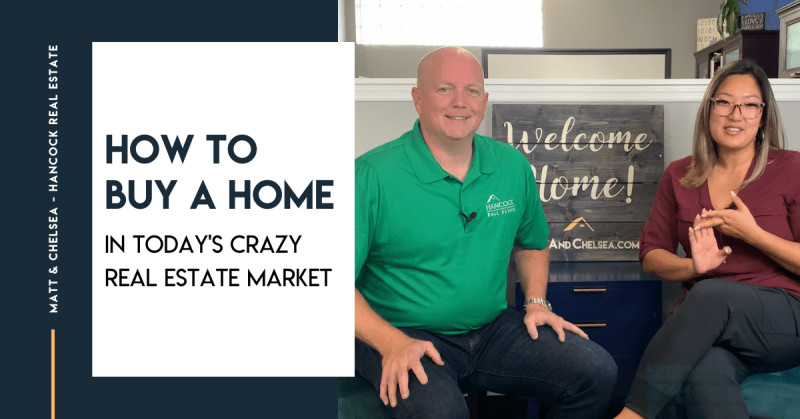 How to buy a home in today's crazy real estate market, with a photo of Matt and Chelsea sitting in front of a Welcome Home sign.