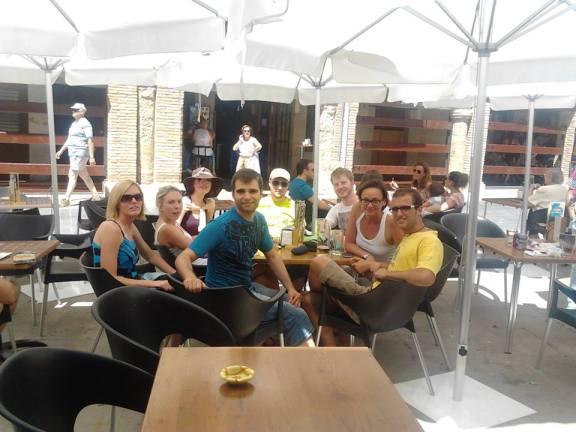 Having some drinks in Arcos, Navarra