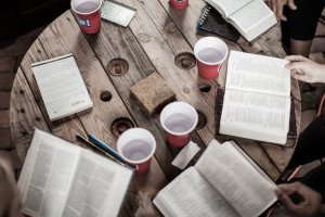 Round table with Bibles