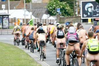 Canterbury. Second annual naked bike ride.