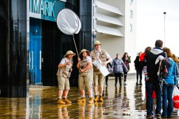 A team of 'eccentric explorers' performing skits and engaging with shoppers. Westwood Cross shopping centre, Looping the Loop festival street theatre and workshops.