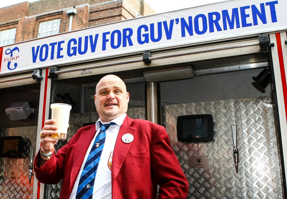Comedian Al Murray, AKA The Pub Landlord, handing in his nomination paperwork at the Thanet council offices in Margate, Kent. (c) Charles Saddler