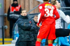 Leyton Orient's manager Justin Edinburgh looks on as his side win a thilling 7 goal cup tie during the The FA Trophy match between Dover Athletic and Leyton Orient at Crabble Stadium, Kent on 3 February 2018.