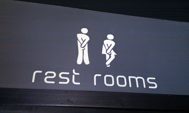 Bathroom sign for people with MS bladder issues