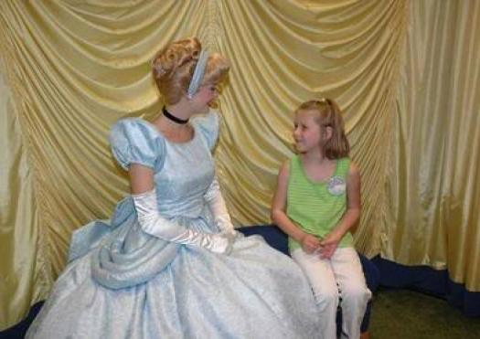 Princess Aly meets Princess Cinderella. Maybe they're talking about Princess Juice
