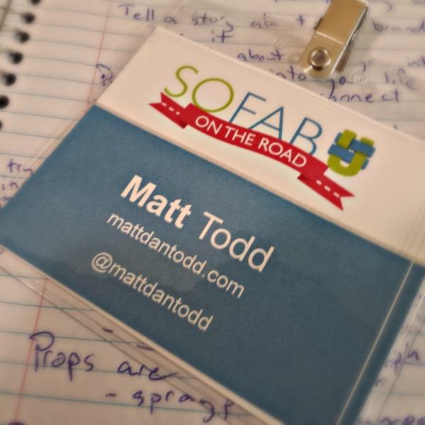 SoFabU OTR in Cincinnati name tag