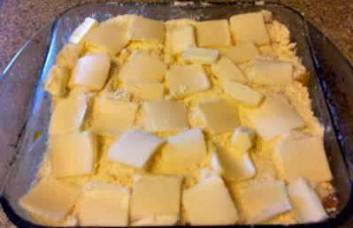 Butter on top of Peach Cobbler