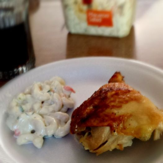 #EffortlessMeals Rotisserie Chicken and Macaroni Salad with Coke #ad