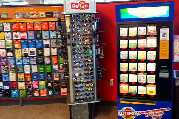 Hoosier Lottery kiosk and over 150 different gift cards at GetGo in Carmel Indiana #WecomeToIndiana