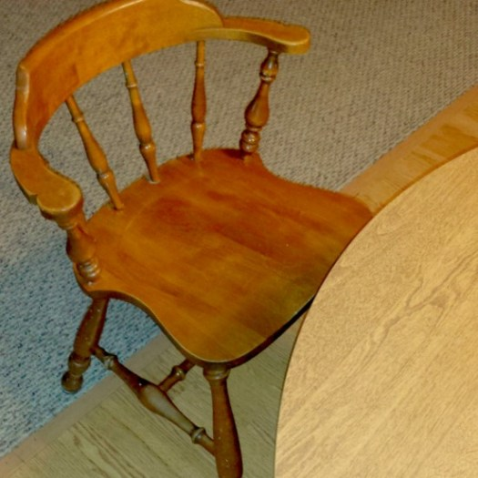 The empty chair at our dining room table #HealthySavings
